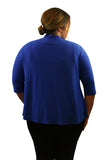 SleekTrends Womens Plus Size 3/4 Sleeve Cascading Long Back Bolero Jacket