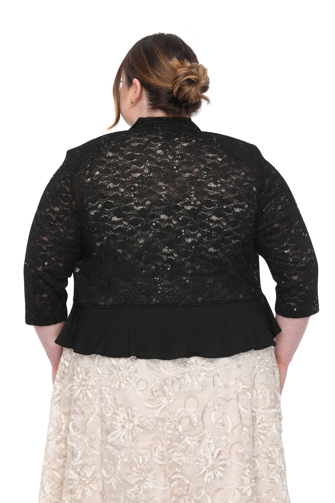 SLEEKTRENDS Womens Plus Size Sequin Lace Ruffled  Bolero Jacket