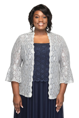 SLEEKTRENDS Plus Size Bell Sleeve Long Sequin Bolero Jacket | Lace Shrug