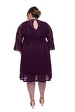 SLEEKTRENDS Womens Plus Size Sequin Lace Bell Sleeve Fit and Flare Party Dress