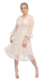 SLEEKTRENDS Womens Sequin Lace Bell Sleeve Fit and Flare Party Dress