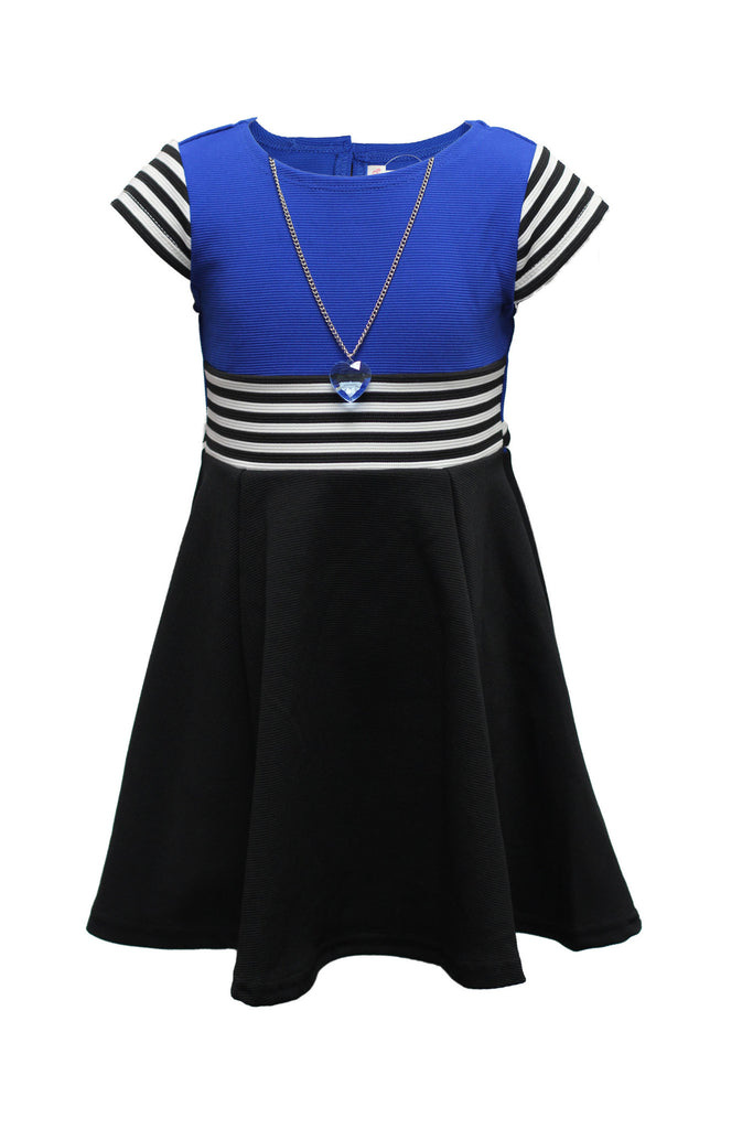 Youngland 4-6X Cap Sleeve Colorblock Dress With Necklace - SleekTrends - 1