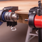 Load image into Gallery viewer, The CaNibble Drill and Nibbler each use a bench mount clamp. Allowing for safe and stable bench mount cutting of sheet metal