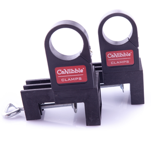 A front view of two CaNibble clamps.