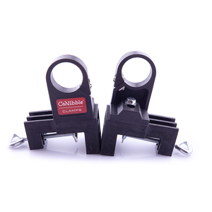 Two CaNibble bench mounting clamps showing opposing sides of the product.