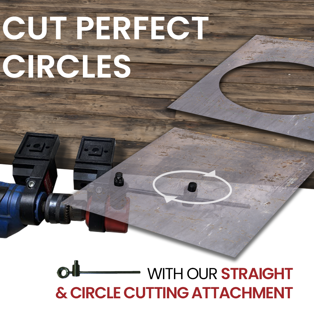The straight and circle cutting attachment  attaches to the CaNibble. Ideally used with the CaNibble clamps.