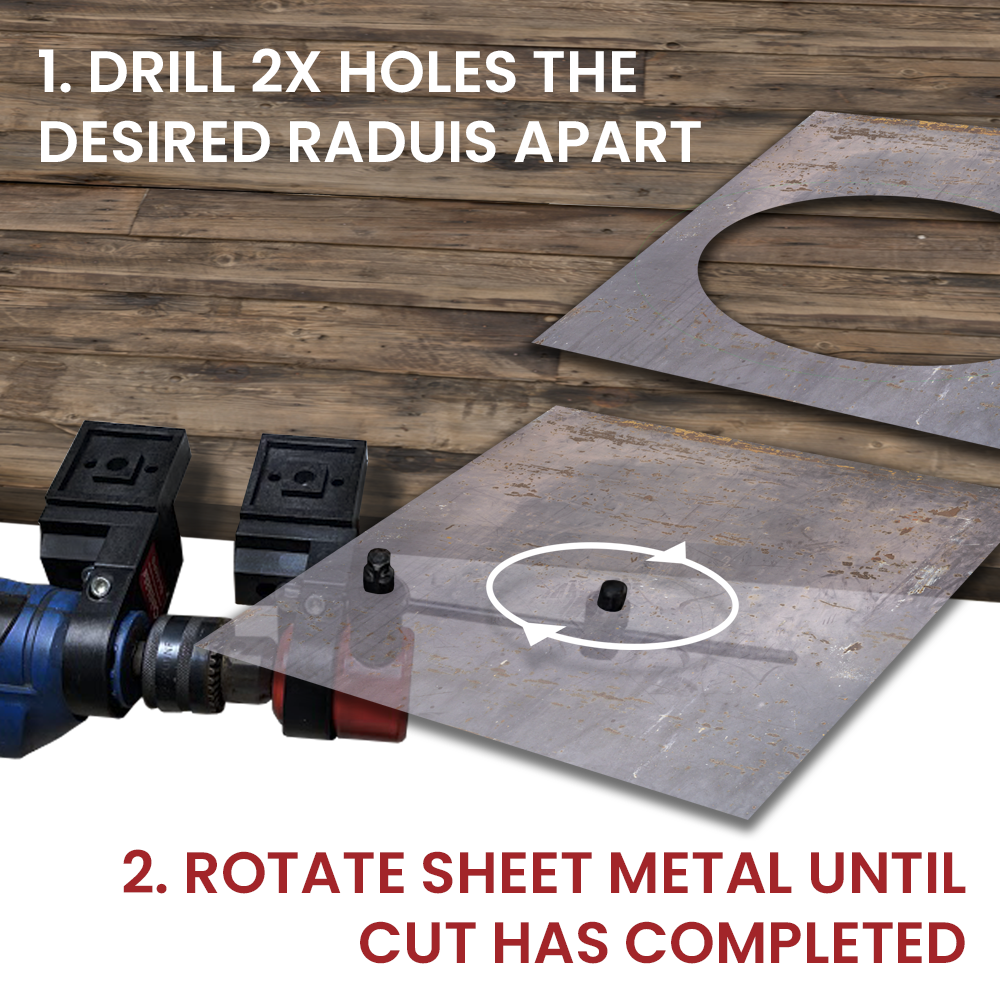 By simply drilling two holes the diameter of the intended circle apart. The straight and circle cutting attachment lets you cut a perfect circle.