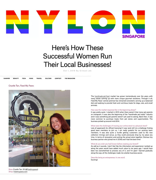 Nylon Singapore Media Feature on women lady entrepreneurs with Crystle from Feed My Paws