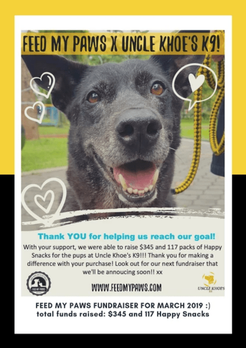 Uncle Khoe's and Feed My Paws Fundraiser Cooperation