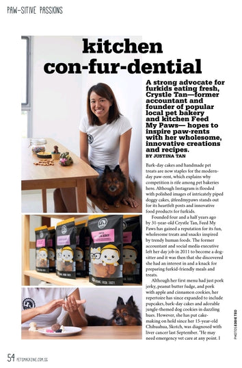 page 1 of Pets Magazine Media Feature with Crystle from Feed My Paws