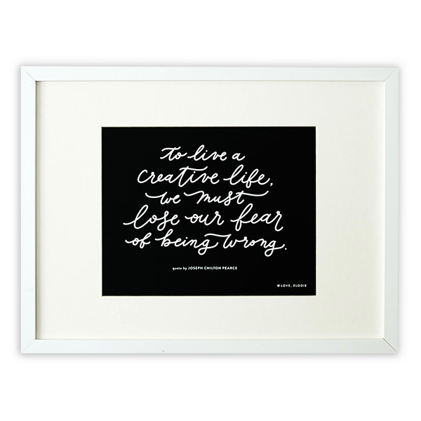 To Live a Creative Life Quote Wall Print