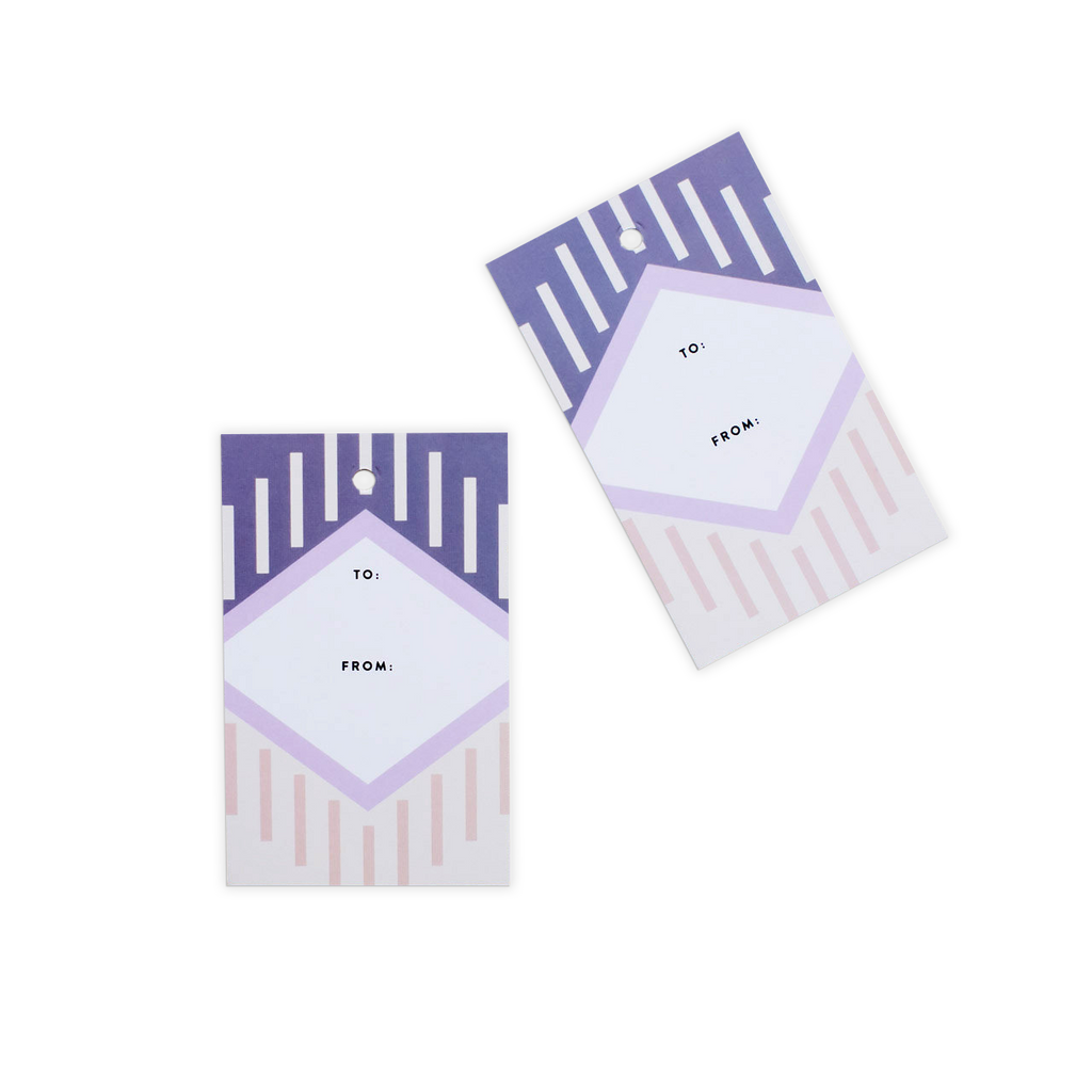 Abstract Geometric Gift Tags - Purple (Set of 10)