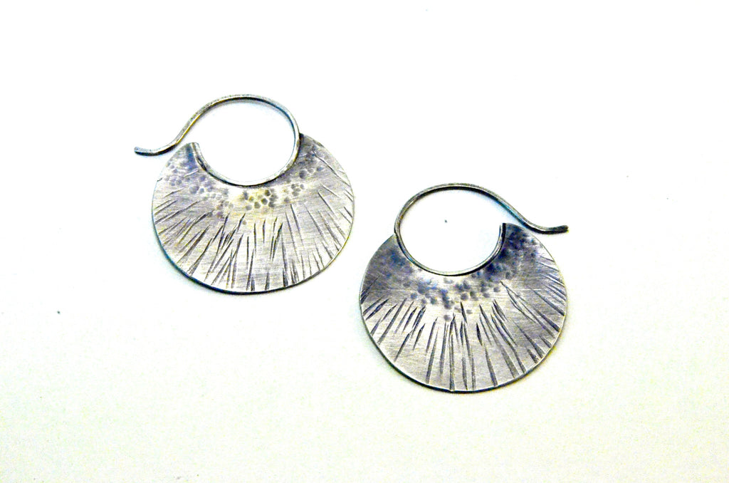 Silver Tribal Hoops