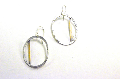 Silver hoop with brass strip