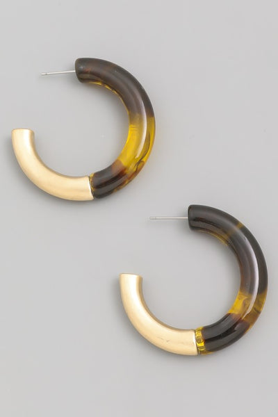 TORTOISE/GOLD HOOP EARRINGS