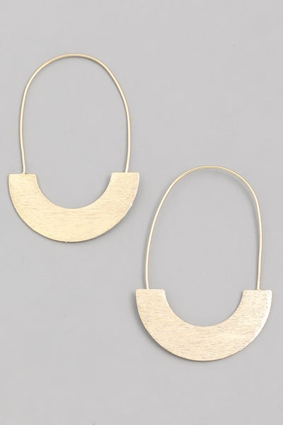 SEMI-CIRCLE HOOP DROP EARRINGS - GOLD