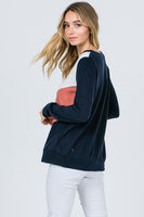 VICTORIA BRUSHED COLOR BLOCK V TOP - NAVY