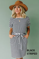 Stevie Striped Pocket Dress - Black