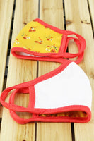 Kids Face Mask - Mustard/Coral