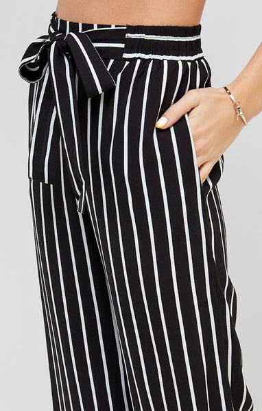 Striped Self Tie Palazzo Pants