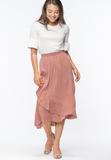 SIENNA RUFFLE WRAP SKIRT - ROSE