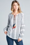 LAYLA BALLOON SLEEVE TASSEL TOP - IVORY/NAVY