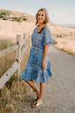 Isla V-Neck Dress - Blue