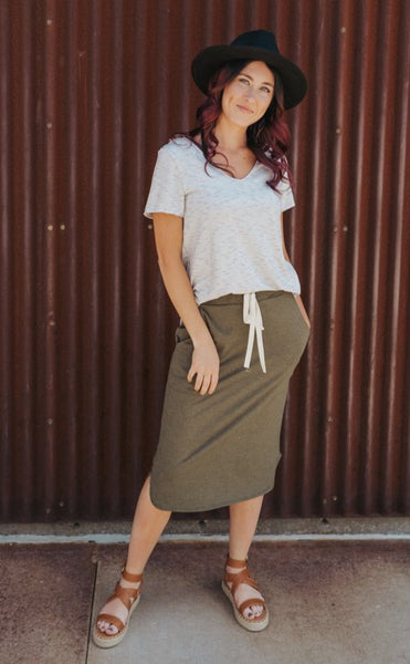 Dylan Drawstring Skirt- Green