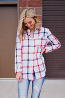 FRANKIE PLAID BUTTON TOP