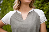 DALLAS V-NECK TOP - OLIVE