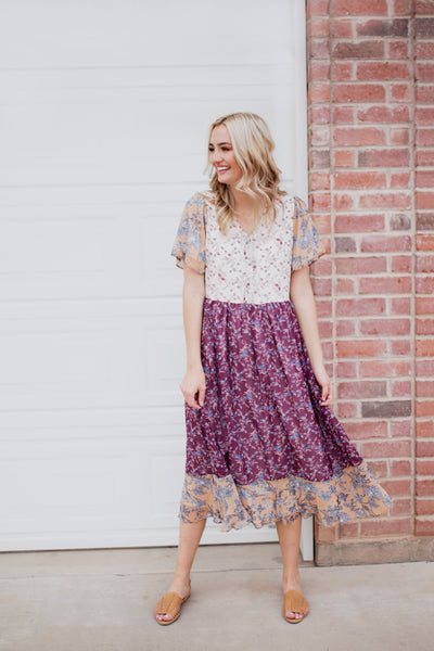 SHAUNA MIXED PRINT DRESS