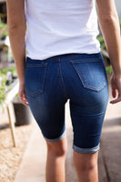 PULL ON BERMUDAS - DARK WASH