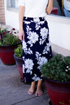 LILLIAN FLORAL SKIRT - DARK NAVY