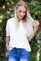 POLKA DOT EMBROIDERED TOP - WHITE