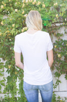 JUST PEACHY EMBROIDERED TEE - IVORY