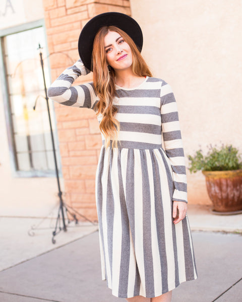 MARLEE STRIPE DRESS - HEATHER GREY