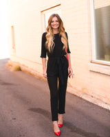 YORK BUTTON BACK JUMPSUIT - BLACK