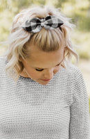 KNOTTED BOW SCRUNCHIE - BLACK BUFFALO