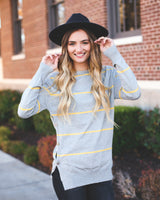 NORWAY BUTTON SIDE SWEATER - GRAY/YELLOW