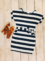 Stevie Striped Pocket Dress - Navy