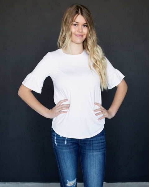 SYDNEY BELL SLEEVE TOP - WHITE