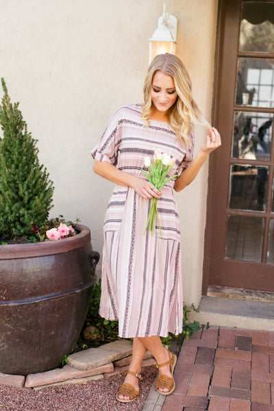 KELSIE STRIPED PRINT DRESS - MAUVE