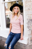 STACI STRIPED TOP - MAUVE
