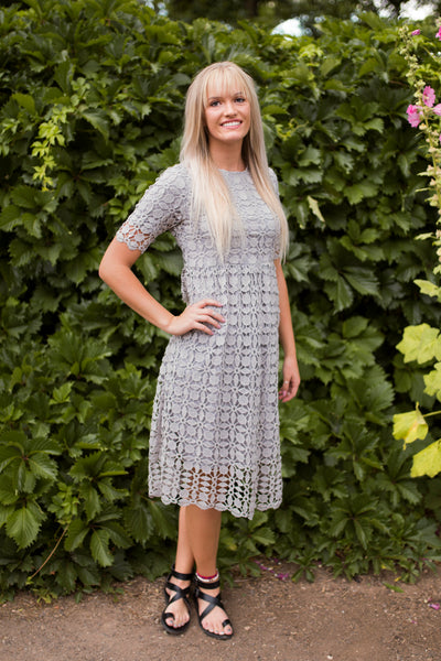 LEAH LACE DRESS - GRAY