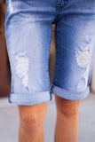 KANCAN MEDIUM WASH DISTRESSED BERMUDA SHORT