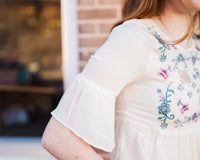 PENELOPE EMBROIDERED TOP - NATURAL