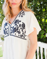 HARMONY EMBROIDERED TOP - IVORY/DARK NAVY