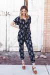 DAKOTA FLORAL JUMPSUIT - DARK NAVY