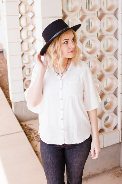PALMER BUTTON TOP - IVORY