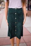 JENKINS CORDUROY SKIRT - HUNTER GREEN